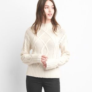 Gap Crop Mock Neck Ivory Cable Knit Sweater Top